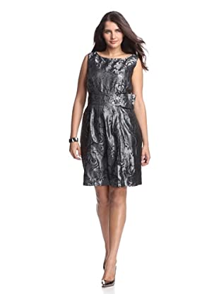 Taylor Women's Metallic Jacquard Dress with Embellishment (Shadow)