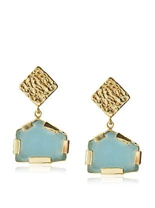 Saachi Aqua Glass Pentagon Drop Earrings