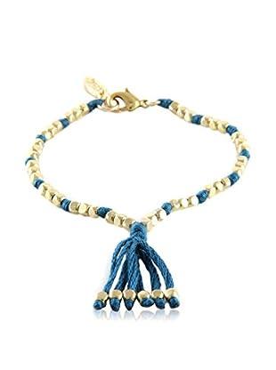 Ettika Denim & 18K Gold-Plated Beaded Silk Thread Bracelet
