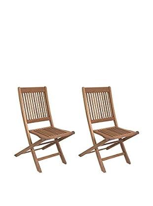 Amazonia Set of 2 Ipanema Eucalyptus Folding Chairs, Brown