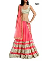 Bollywood Replica Lehenga Pink Color Designer Wedding Wear Lehenga: NFS1209