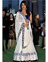 Ethnic Trend Net Party Bollywood Replica Lehenga Saree - 116 (White)