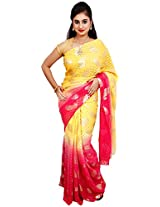 Diva Women's Georgette Saree (Pink and Yellow )