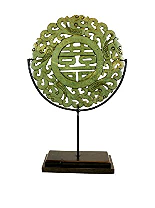 Asian Loft Carved Jade Stone Disk on Stand