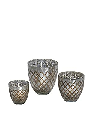 Bombay Company Set of 3 Etched Tealight Holders, Silver Mercury