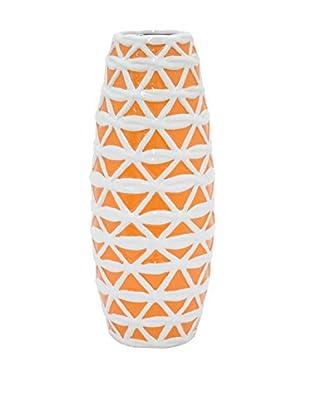 Three Hands Short Trellis Ceramic Vase, Orange/White