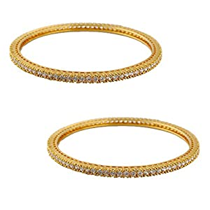 """Pearl Paradise """"Cz (AD)"""" bangle set for women. (Pack of 2)."""