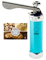 Stylish Cookie Press Kit - Biscuit Press Set Includes 20 Discs & 4 Icing Tips, 1st Chef's Best Spritz Dough Cookie Gun. Treat Yourself Today. ...