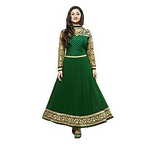 Vibes Women Georgette Patch Work Unstitched Salwar Kameez Dress Material (V20-21004 _Green _Free Size)