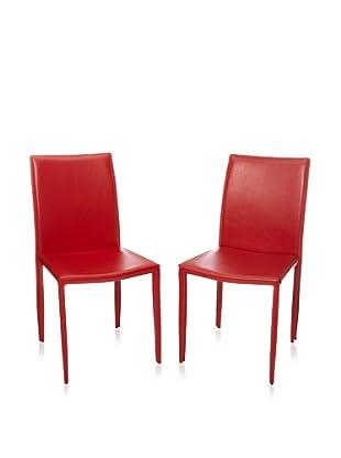 Safavieh Set of 2 Karna Dining Chairs (Red)