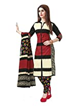 Suhanee Sarees Printed Cotton Dress Materials - Beige : Black