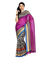 Parchayee Purple Synthetic Chiffon Sari