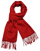 Dahlia Men's Winter Wool Blend Scarf - Classic Solid Color - Red