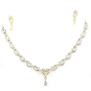 SUPERSHINE GOLD PLATED NECKLACE SET WITH EARRINGS FASHION JEWELRY STUDDED WITH AMERICAN DIAMONDS 71668G