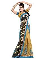 Chandra Silk Mills Black Fancy Floral Printed Half-Half Wedding Party Wear Saree