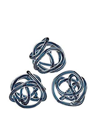 Artistic Set of 3 Glass Knots, Navy Blue