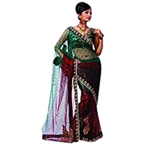 Red & Green Colored Bollywood Style Fashion Wear Diva Net Saree With Black Borders By Variation