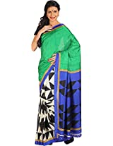 Parchayee Women's Synthetic Raw Silk Saree (30324RUBD, Green, Free Size)