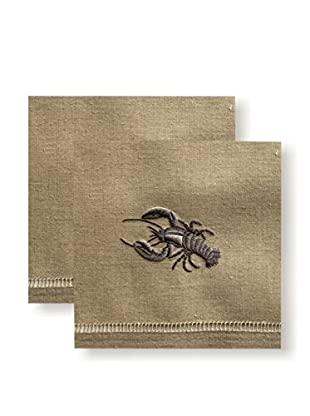 Henry Handwork Set of 2 Grey Lobster Hand Towels, Natural