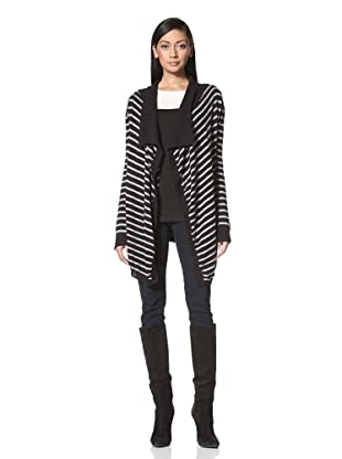 French Connection Women's College Knits Stripe Sweater (Black/Grey)