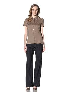 Loro Piana Women's Short-Sleeve Button-Up (Olive)