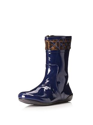 Fendi Women's Flat Logo Boot (Blue/Tobacco)