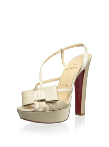 Christian Louboutin Slingback Pump with Bow - Champagne