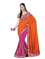 De Marca Orange Viscose Festive Wear 7108 Saree