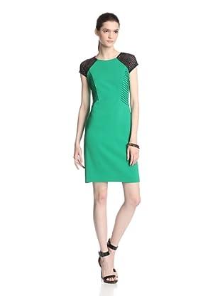Julia Jordan Women's Cap Sleeve Dress with Shadow Stripe Detail (Green/Black)