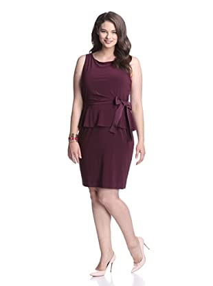 Taylor Women's Peplum Dress with Tie (Burgundy)