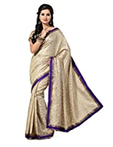 Ishin Jecquard Gold & White Lace Saree