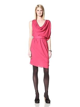 Halston Heritage Women's Asymmetrical Draped Dress (Raspberry)