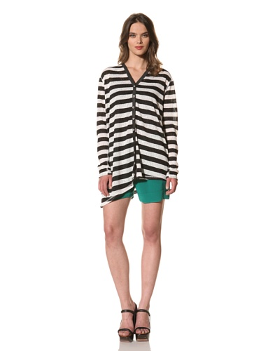 Cut25 Women's Slub Stripe Long Sleeve Cardigan (Optic/Jet)
