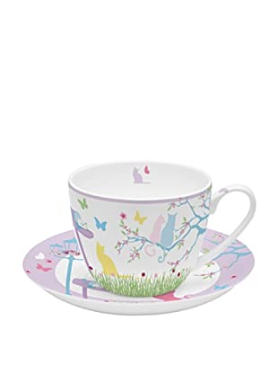 Easy Life Design Tazza Colazione con Piatto in Porcellana Bone China Cats 350 ml