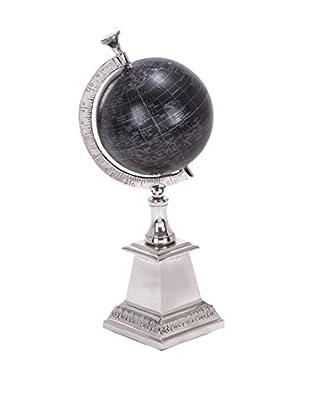 Benzara Aluminum Décor Globe, Black/Silver
