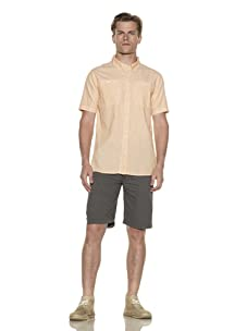 Nüco Men's Shorts Sleeve Woven Chambray Shirt (Flamingo)