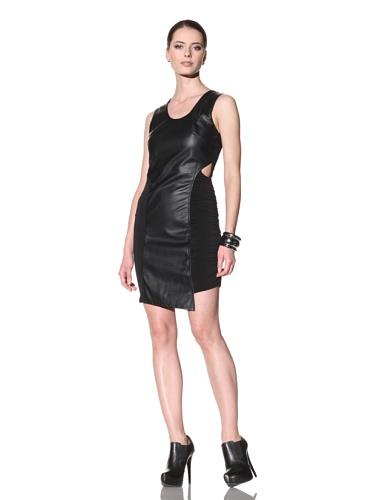 FACTORY by Erik Hart Women's Faux Leather Jersey Dress (Onyx)