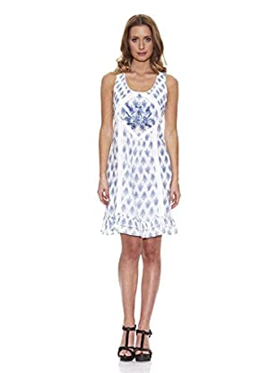 Peace & Love Kleid gemustert (blau)