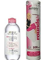Micellar Cleansing Water By Garnier All-in-1 Cleanser 13.5 Fl Oz. And Make-up Remover and 100 Count Swisspers Premium Hypoallergenc Cotton Rounds