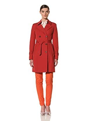 Andrew Marc Women's Dorian Double-Breasted Trench Coat (Red)