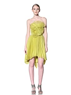 Christian Siriano Women's Pleated Cocktail Dress with Spiral Detail (Chartreuse)