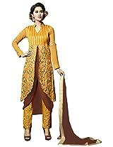 Viva N Diva Yellow & Brown Color Fuax Georgette Suit.