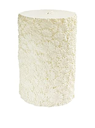 American Atelier Floral Pillar Candle, White