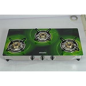 Advanta Premium Vetra Galaxy 3 Burner Glass top Gas Stove, standard multicolor