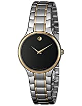 Movado Women's 0606389 Serio Two-Tone Stainless-Steel Black Round Dial Watch