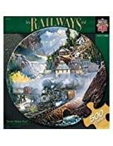 Jigsaw Puzzle Round 500 Pieces 18.25 Diameter-Railways-Silver Belle Run
