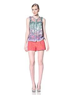 Timo Weiland Women's Pleated Shell Blouse (Coastal Floral Print)
