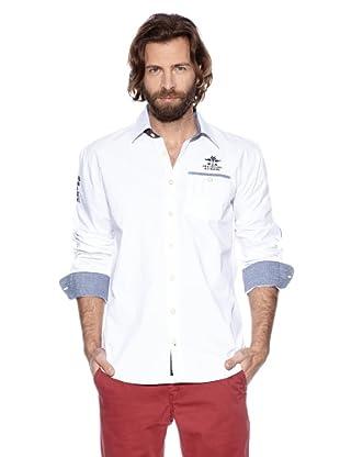 NZA New Zealand Auckland Camisa Manga Larga Tripolis (Ponto) (Blanco)