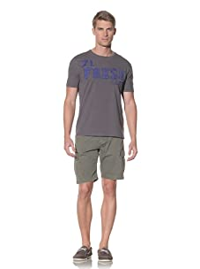 Fresh Men's Crew Neck T-Shirt With Embroidered Print (Grey)