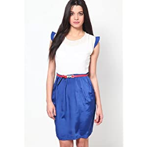 Cream And Blue Knee Length Sleeve Less Crepe Dress With Styling On Shoulders And Belt